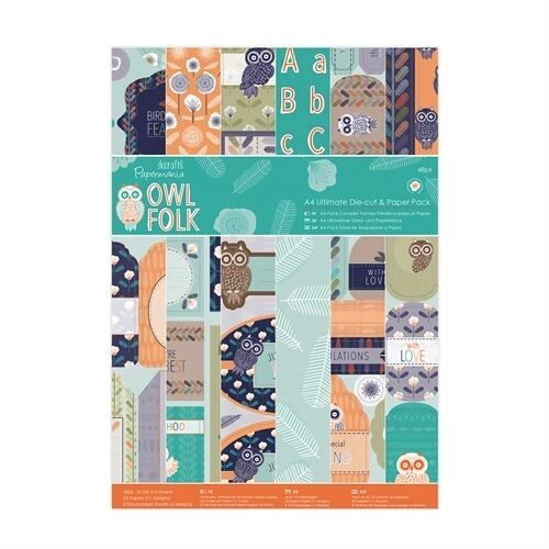 DOCRAFTS PAPERMANIA OWL FOLK ULTIMATE A4 DIE CUT & PAPER PACK