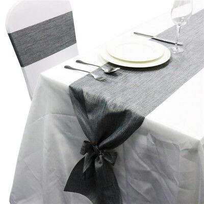 Diy Burlap Table Runner (1-10pcs Rustic Gray Burlap Table Runner with Linen Bow Ribbons DIY Wedding)