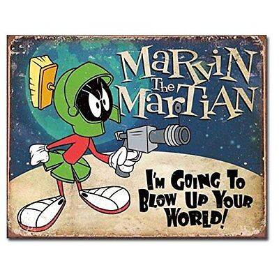 Marvin The Martian Looney Tunes Cartoon Weathered Retro Decor Metal Tin Sign New