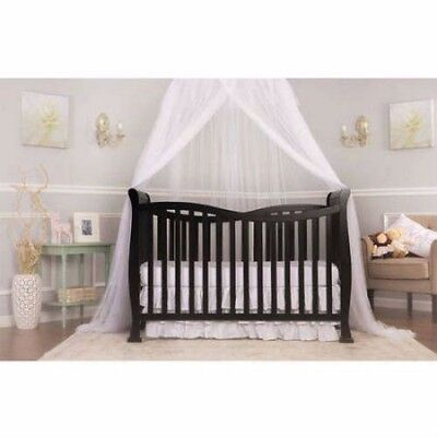Dream On Me Violet 7-in-1 Convertible Baby Crib Black Nursery Toddler
