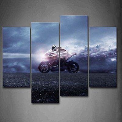 Man Heckle Motorcycle Brick up Art Car Pictures Prints Canvas Mod Welcoming comfortable with Decor Framed