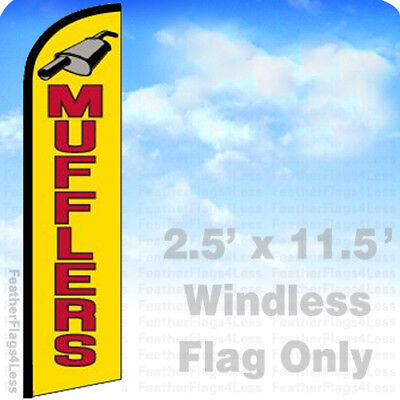 Mufflers - Windless Swooper Feather Flag Banner Sign 2.5x11.5 - Yf