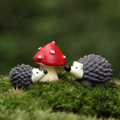 (3Pcs/Set Fairy Garden Gnomes Moss Miniatures Mushroom Dot Red with Hedgehog Mini)