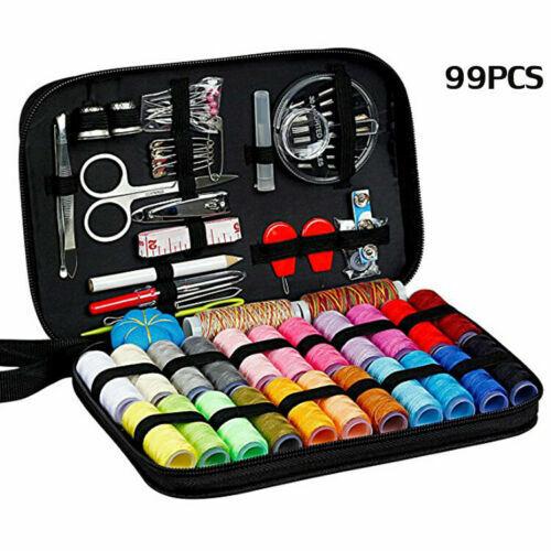Black Mini Sewing Kit Case Scissor Thread Needle Pins Storage Box for Travel