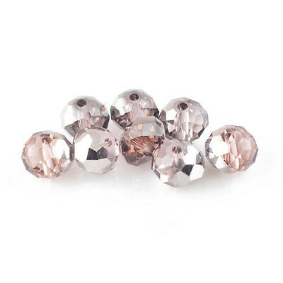 95+ Pink/Silver Czech Crystal Glass 4 x 6mm Faceted Rondelle Beads HA20100