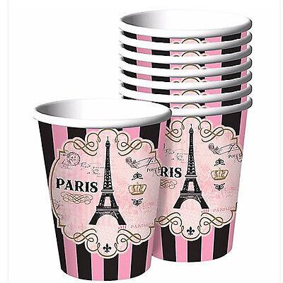 BRIDAL SHOWER Day in Paris 9oz PAPER CUPS (8) ~ Wedding Party Supplies Beverage