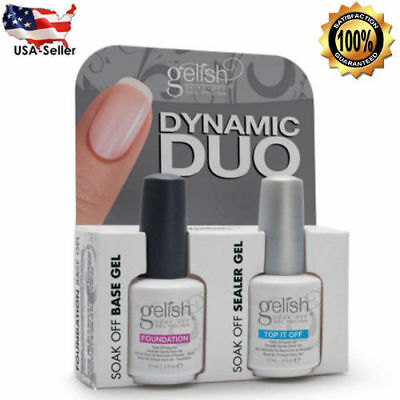 Gelish Harmony Duo Soak Off Gel Nail Polish Foundation Base and Top Sealer 15ml