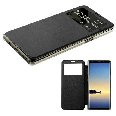 (Samsung Galaxy Note 8 Window Screen Leather Flip Wallet Case Hybrid Cover BLACK)