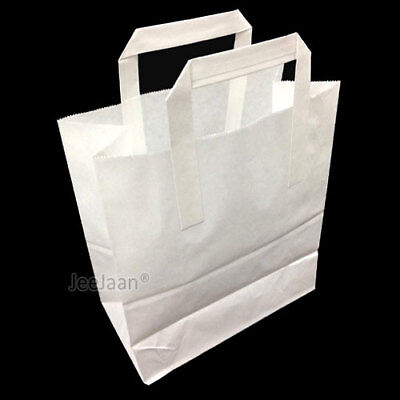 200 SOS Paper Carrier Bags WHITE Flat Handles 18cm x 23cm x 9cm  Small Kraft