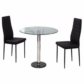 NEW SHIRO GLASS ROUND TABLE WITH 2 CHAIRS ONLY £99 free delivery