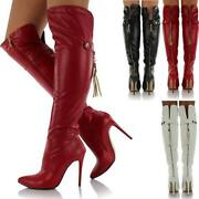 Red Knee High Heel Boots