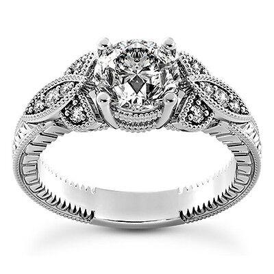 1 Carat Round Cut Diamond Enhanced Engagement Ring D/SI2 14K White Gold