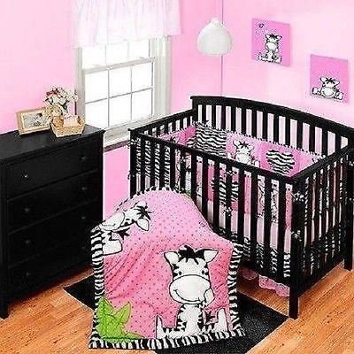 - BRAND NEW Baby Boom I Luv Zebra 3 piece Crib Bedding Set  Pink Infant Girl