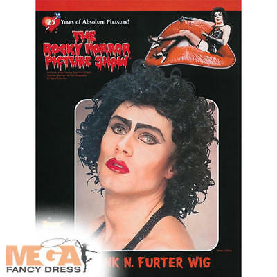 Frank n Furter Black Wig Rocky Horror Adults Fancy Dress Mens Costume Accessory