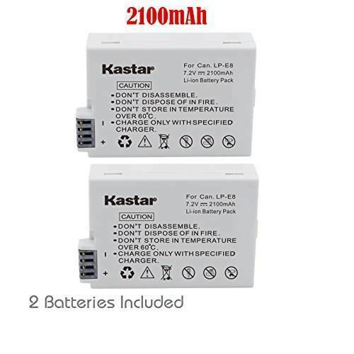 2x Kastar Battery for Canon LP-E8 LPE8 EOS 550D 600D 700D