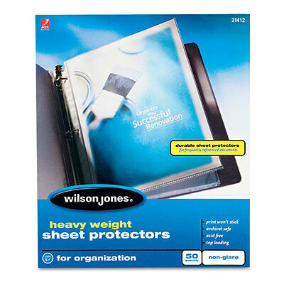 New Wilson Jones Heavy Duty Sheet Protector Non-glare 50pk - 21412