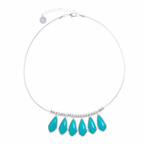 Liz Claiborne Women's Blue Drop Collar Necklace Silver Tone