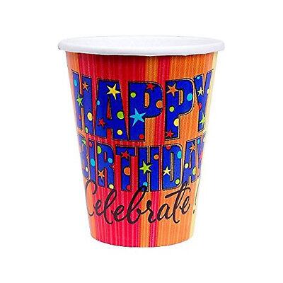 8 x Happy Birthday Kindergeburtstag Erwachsene Pappbecher 266ML ()