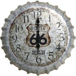 Route 66 America's Highway Metal Bottle Cap 13 Analog Wall Clock US Seller