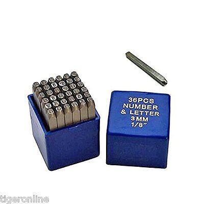 Steel Stamp Die Punch Jewelers Set 36 Pc 18 3mm Letter Number Metal In Case