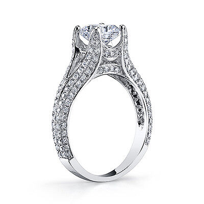 4.07 Ct Cushion Cut Natural Diamond Split Shank Plat Engagement Ring J,VS2 GIA