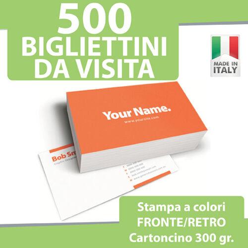 500 BIGLIETTI DA VISITA STAMPA FRONTE RETRO a COLORI 300gr Bigliettini Stampati