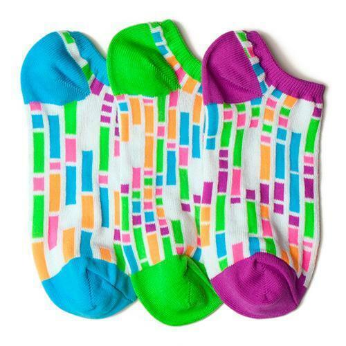 LittleMissMatched White Colorblock Liner Socks - 3 Socks (Kids 6-2)