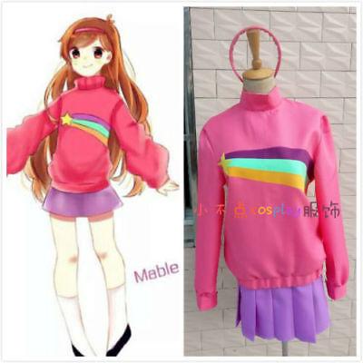 Gravity Falls Mabel Costume Cosplay Pink Sweatshirts Hoodie Pleated Skirt Suits:](Mabel Gravity Falls Costume)