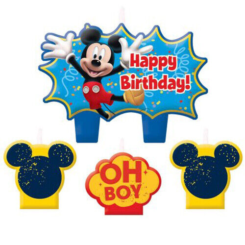MICKEY MOUSE Fun and Friends MINI CANDLE SET (4pcs) ~ Birthday Supplies Cupcake