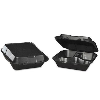3 Comp Foam - Genpak Snap-It Foam Hinged Carryout Container 3-Comp Black 8-1/4x8x3 100/BG 2 BG