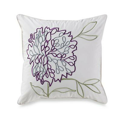 MALTA : Bed Bath Beyond : Decorative Throw Toss Pillow : Floral Purple : 18 x 18