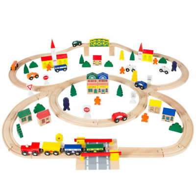 100Pcs Hand Crafted Wooden Train Set Triple Loop Railway Track Kids Car Toy Play