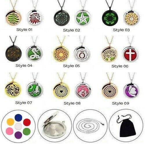 2 Pack Essential Oil Diffuser Necklace Stainless Steel Locke
