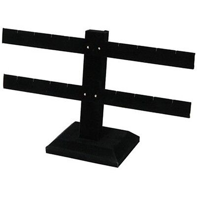 2 Tier Double Bar Black Earring Display Stand 10 14w X 6 12h