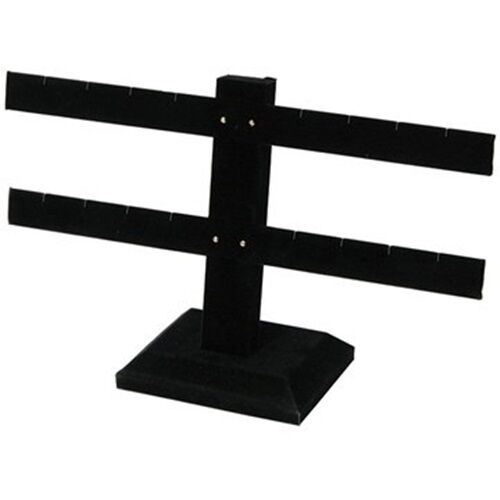"""2 Tier Double Bar Black Earring Display Stand 10 1/4""""W  x 6 1/2""""H"""