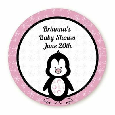 Penguin Pink - Round Personalized Baby Shower Sticker - 6 sizes