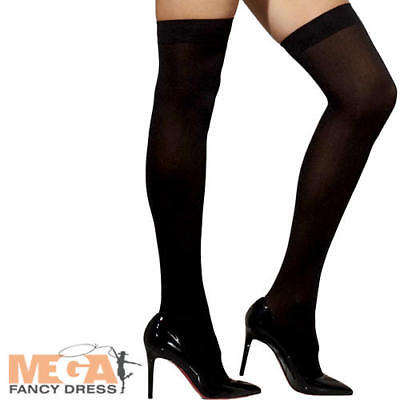 Bow High School Halloween (Black Hold Ups with Bows Ladies Fancy Dress High School Womens Costume)