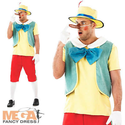 Mens Fairy Tale Puppet Pinocchio Fancy Dress Adults Cartoon Character Costume