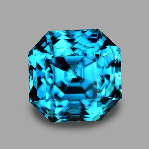 5.24CTS DELIGHTFUL RADIANT ASSCHER CUT NATURAL BLUE ZIRCON VIDEO IN DESCRIPTION