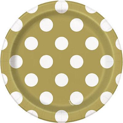 Wedding Cake Paper Plates (GOLD METALLIC POLKA DOTS SMALL PAPER PLATES (8) ~ Birthday Wedding Supplies)