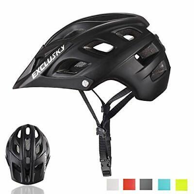 Exclusky Casco de Bicicleta de montaña, Casco Adulto IN-Mold 21 (negro)