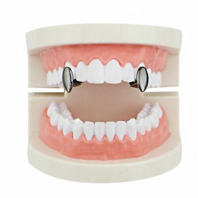 Hip Hop Gun Metal Black Mouth Teeth Upper or Lower Grillz Single Fangs 2 pc Set Black Set Grillz