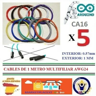 5 Cables de 1 Metro MULTIFILIAR AWG24 WRAPPING WIRE Electronic Puente Robot...