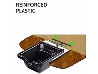 Black Reinforced Plastic Barber Shop Sink - Front Wash Basin with Parts