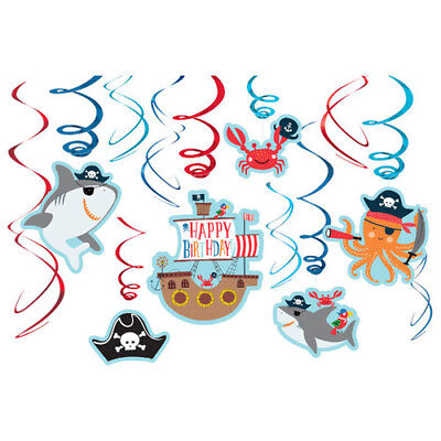 Pirate Party Decorations (PIRATE PARTY Ahoy Birthday HANGING SWIRL DECORATIONS (12) ~ Supplies Shark)