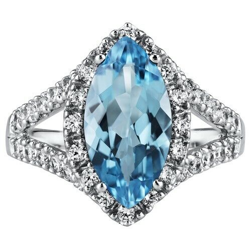 2.75 Carats Marquise Cut Swiss Blue Topaz Ring Sterling Silver Sizes 5 to 9