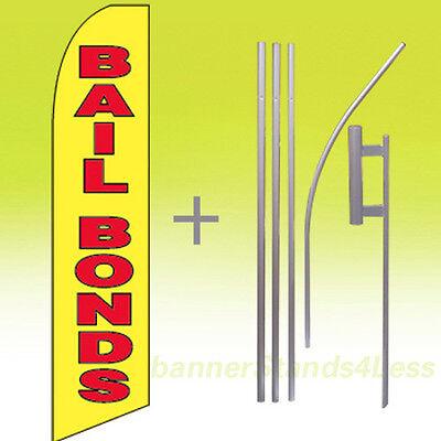 Bail Bonds Swooper Flag Kit Feather Flutter Banner Sign 15 Tall - Yb