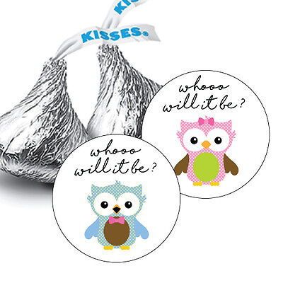 108 Whooo will it be? Owl GENDER REVEAL BABY HERSHEY KISS CANDY STICKERS](Gender Reveal Candy)