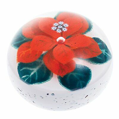 Caithness Glass U16078 Christmas Winter Poinsettia Paperweight