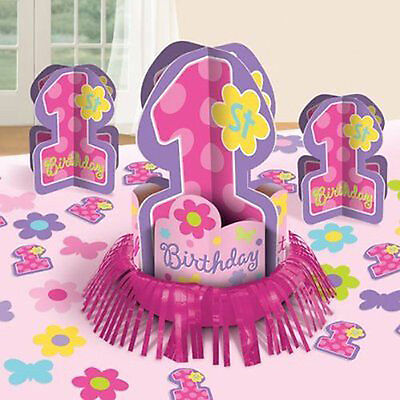 1st BIRTHDAY GIRL TABLE DECORATING KIT (23pc) ~ First Party Supplies (1st Birthday Girl Decorating Kit Party Supplies)